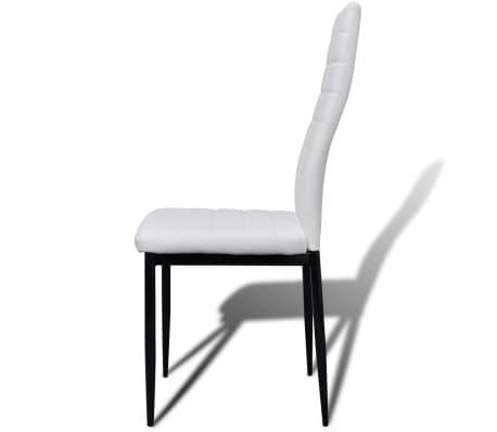 Jedilni set 4 beli stoli z ravnimi linijami in stekleno mizo[6/13]