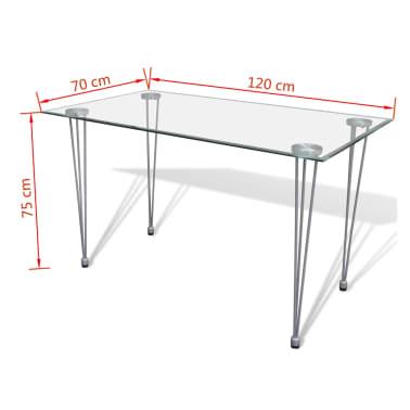Jedilni set 4 beli stoli z ravnimi linijami in stekleno mizo[12/13]