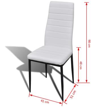 Jedilni set 4 beli stoli z ravnimi linijami in stekleno mizo[13/13]