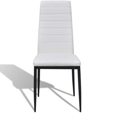 Jedilni set 4 beli stoli z ravnimi linijami in stekleno mizo[4/13]