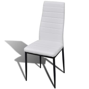 Jedilni set 4 beli stoli z ravnimi linijami in stekleno mizo[5/13]