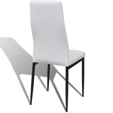 Jedilni set 4 beli stoli z ravnimi linijami in stekleno mizo[7/13]