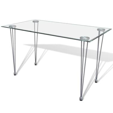 Jedilni set 4 beli stoli z ravnimi linijami in stekleno mizo[9/13]