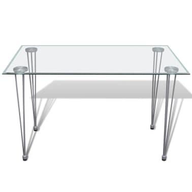 Jedilni set 4 beli stoli z ravnimi linijami in stekleno mizo[10/13]