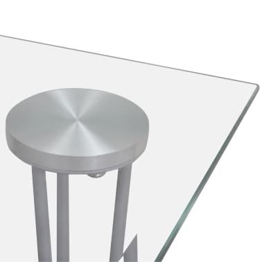 Jedilni set 4 beli stoli z ravnimi linijami in stekleno mizo[11/13]