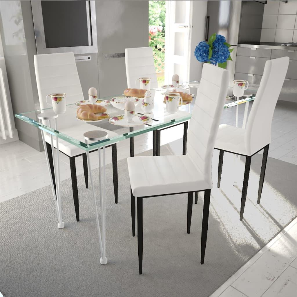 vidaXL Σετ Τραπεζαρίας Καρέκλα Λεπτή Γραμμή 4 τεμ. Λευκή & 1 Τραπέζι Γυάλινο