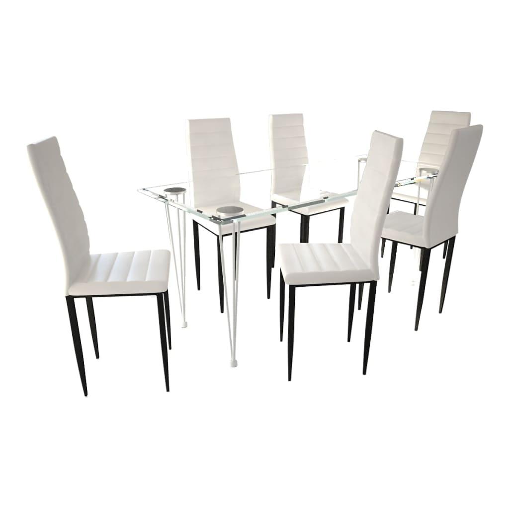 vidaXL Σετ Τραπεζαρίας Καρέκλα Λεπτή Γραμμή 6 τεμ. Λευκή & 1 Τραπέζι Γυάλινο