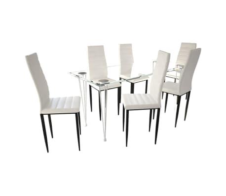 acheter lot de 6 chaises blanches aux lignes fines avec une table en verre pas cher. Black Bedroom Furniture Sets. Home Design Ideas