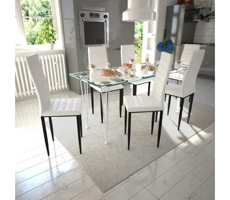 6 sillas blancas comedor Slim Line mesa de vidrio transparente ...
