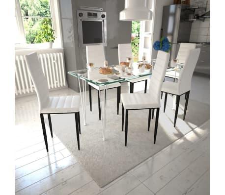 Sedie Per Tavolo Di Vetro.Dettagli Su Vidaxl Set 6 Sedie Tavola Bianco Linea Sottile 1 Tavolo Vetro Arredamento Casa