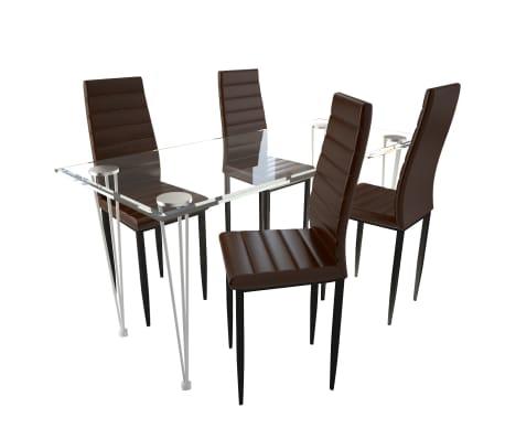 Jedilni set 4 rjavi stoli z ravnimi linijami in stekleno mizo