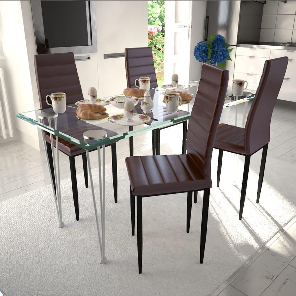 Jídelní set: hnědé židle štíhlé 4 ks a 1 skleněný stůl