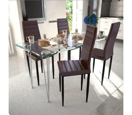 Shop Brun Spisestue sæt med 4 pcs stole med 1 Glass Bord (241501 + ...
