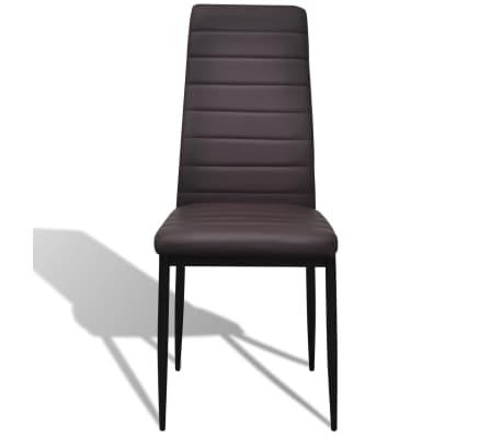 6 sillas marrones comedor Slim Line mesa de vidrio transparente[4/13]