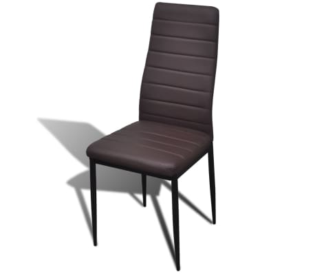 6 sillas marrones comedor Slim Line mesa de vidrio transparente[5/13]