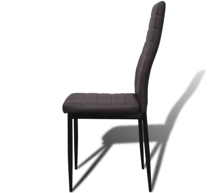 6 sillas marrones comedor Slim Line mesa de vidrio transparente[6/13]