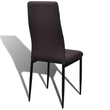 6 sillas marrones comedor Slim Line mesa de vidrio transparente[13/13]