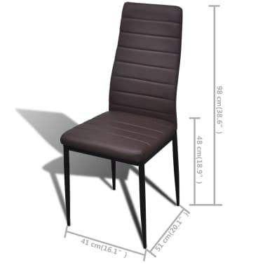 6 sillas marrones comedor Slim Line mesa de vidrio transparente[11/13]