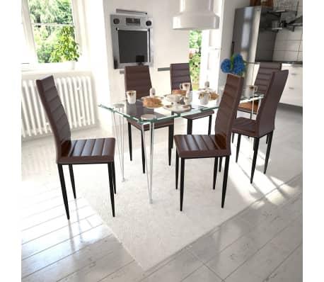 esszimmergarnitur esszimmerstuhl braun 6 st ck glastisch 1 st ck g nstig kaufen. Black Bedroom Furniture Sets. Home Design Ideas