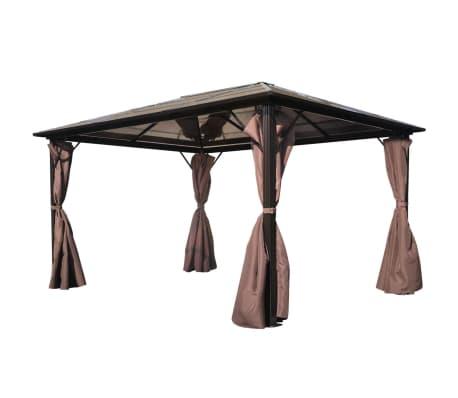 vidaXL Paviljong med gardin brun aluminium 400 x 300 cm