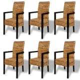 6 pcs Handwoven Abaca Dining Chair Set with Armrest