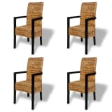 4 pcs Handwoven Abaca Dining Chair Set with Armrest