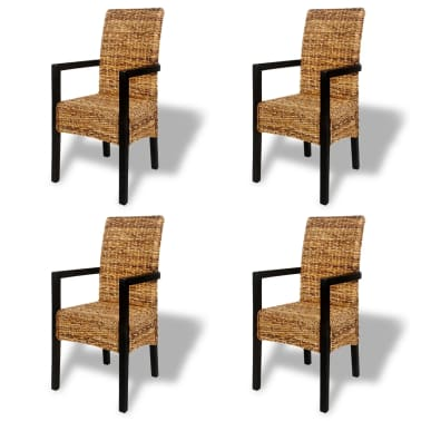 4 pcs Handwoven Abaca Dining Chair Set with Armrest[2/7]