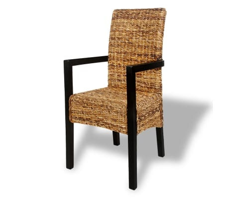 4 pcs Handwoven Abaca Dining Chair Set with Armrest[3/7]