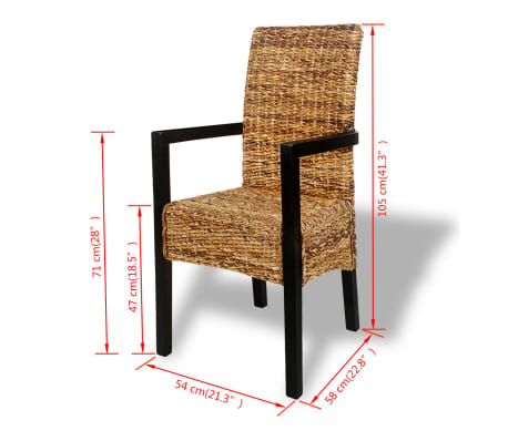 4 pcs Handwoven Abaca Dining Chair Set with Armrest[7/7]