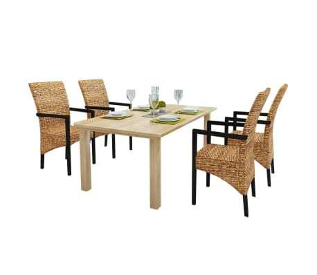 4 pcs Handwoven Abaca Dining Chair Set with Armrest[1/7]