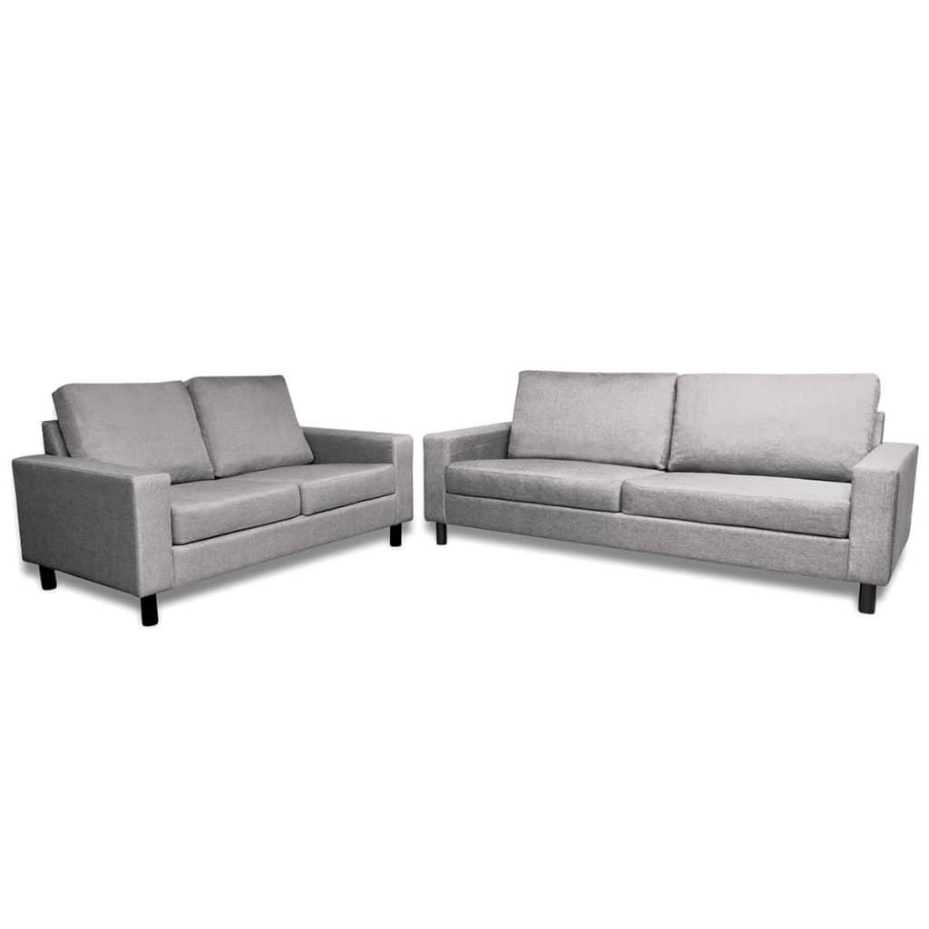 999271701 Sofa Set 2-Sitzer und 3-Sitzer Stoff Hellgrau