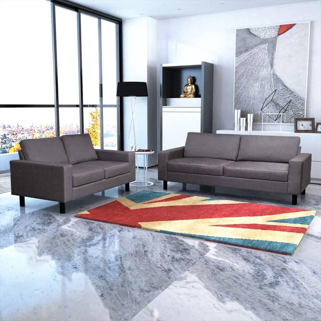 Canapele cu 2 și 3 locuri, gri închis poza vidaxl.ro