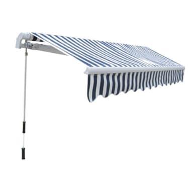 vidaXL Folding Awning 300 cm Navy Blue & White[3/5]
