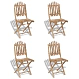 vidaXL Foldable Outdoor Chairs Bamboo 4 pcs