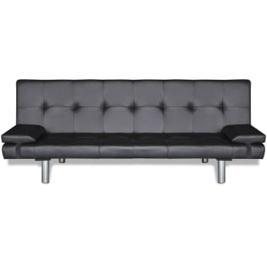 vidaXL Sofa Bed with Two Pillows Artificial Leather Adjustable Black[4/9]