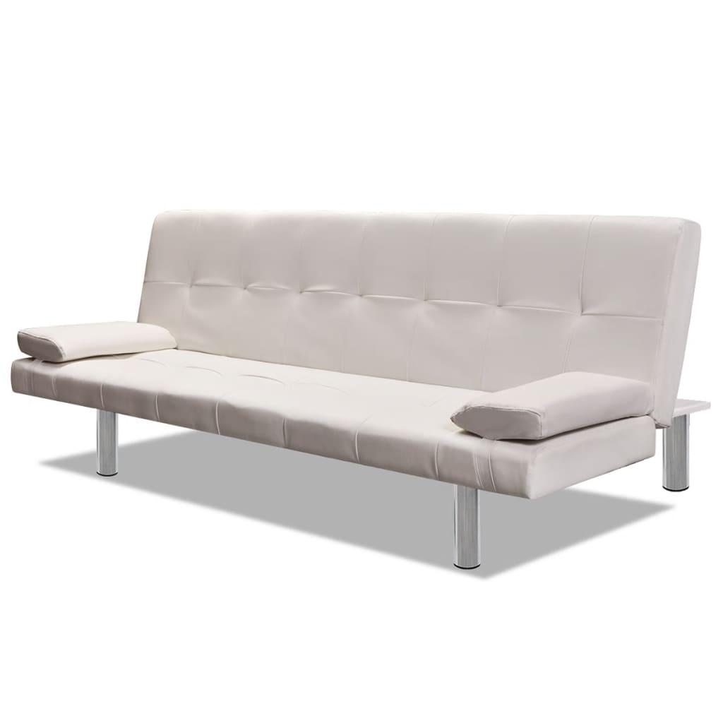 99241723 Schlafsofa mit zwei Kissen Kunstleder Verstellbar Cremeweiß