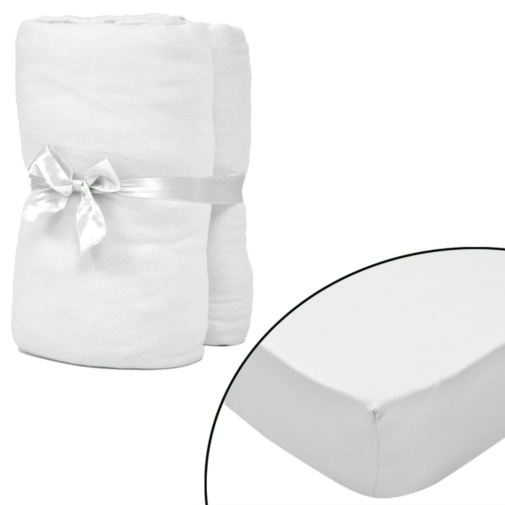 99130559 2er Weiße Spannbettlaken für Matratze 120x200-130x200cm Baumwolljersey