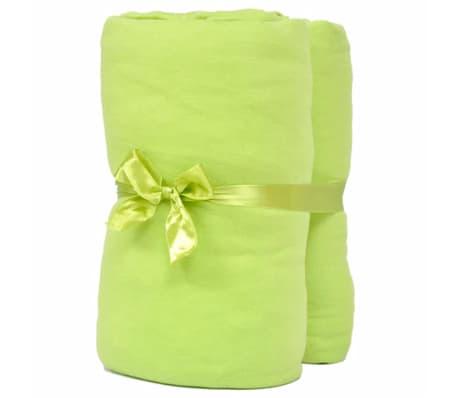 acheter 2 draps housses vert pomme en jersey de coton 120 x 200 130 x 200 cm pas cher. Black Bedroom Furniture Sets. Home Design Ideas