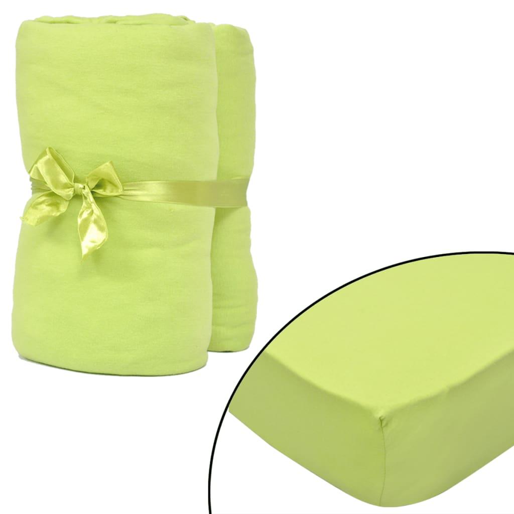 2ks zelená elastická prostěradla 120x200–130x200cm bavlněný žerzej