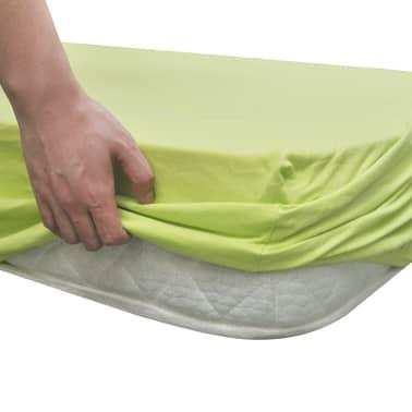 Madrassöverdrag 2 st 140x200-160x200cm bomullsjersey Äppelgrön[4/4]