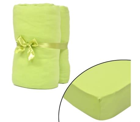Hoeslaken voor matras 180x200-200x220 cm katoenjersey (groen) 2 stuks