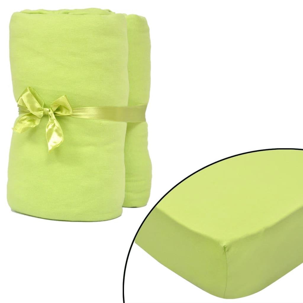 vidaXL 2stk Eplegrønn stretchlaken 180x200-200x220cm bomulljersey