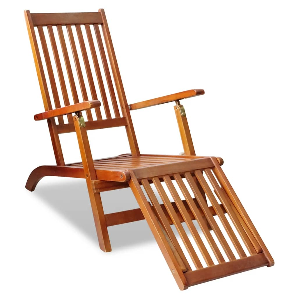 Details About Wood Outdoor Deck Chair Lounge Sling Relax With Footrest