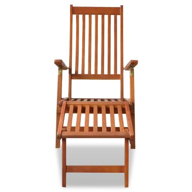 vidaXL Outdoor Deck Chair with Footrest Solid Acacia Wood[2/7]