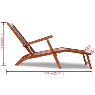vidaXL Outdoor Deck Chair with Footrest Solid Acacia Wood[7/7]