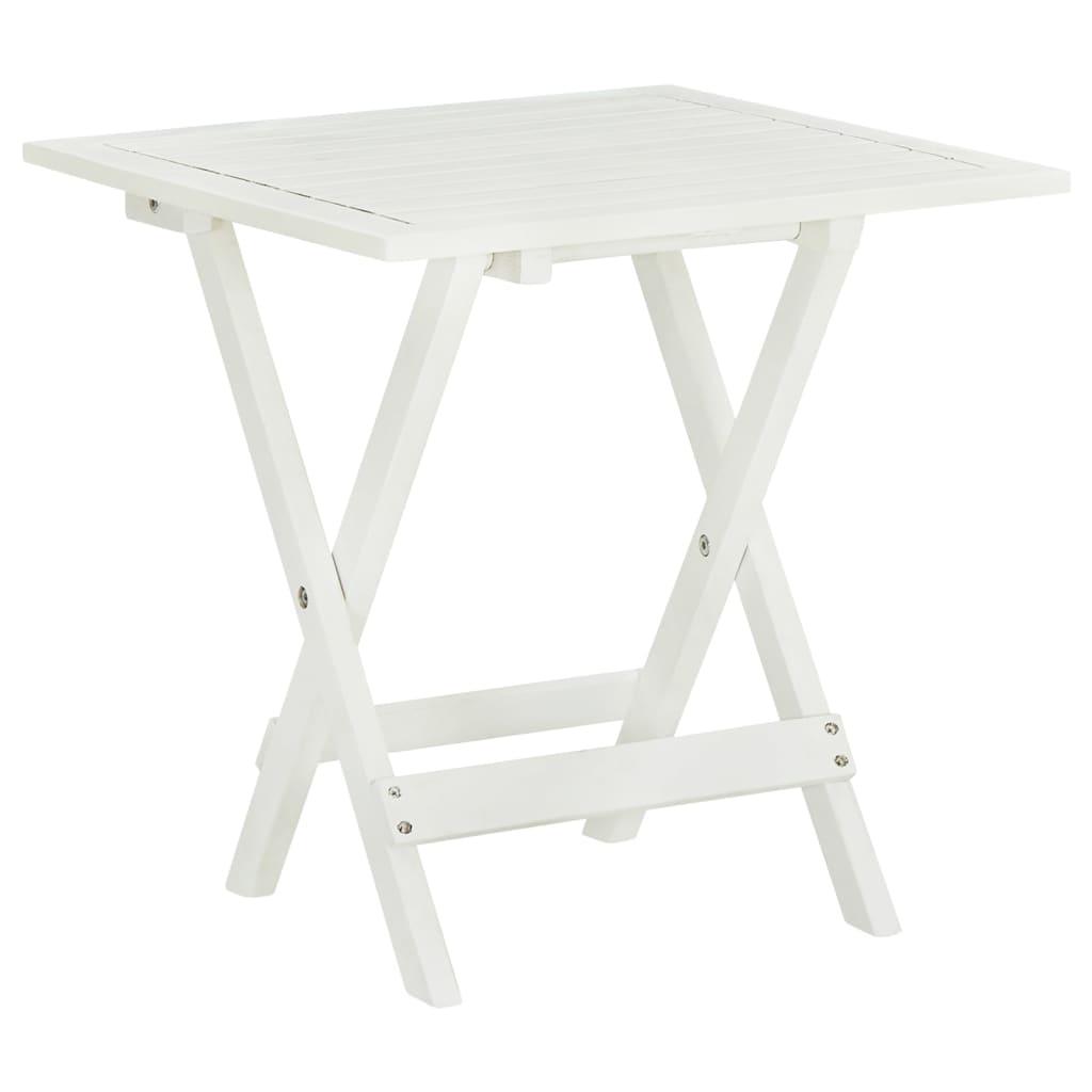 vidaXL Τραπέζι Bistro Λευκό 46 x 46 x 47 εκ. από Μασίφ Ξύλο Ακακίας