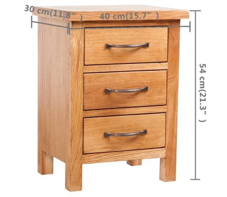 vidaXL Noptieră cu 3 sertare, 40 x 30 x 54 cm, lemn masiv de stejar[5/5]