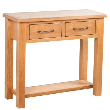 "vidaXL Console Table with 2 Drawers Oak 32.7""x11.8""x28.7""[1/6]"