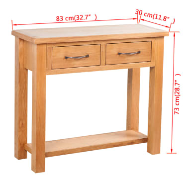 "vidaXL Console Table with 2 Drawers Oak 32.7""x11.8""x28.7""[6/6]"