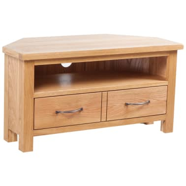 "vidaXL TV Cabinet with Drawer Solid Oak Wood 34.6""x16.5""x18.1""[1/7]"